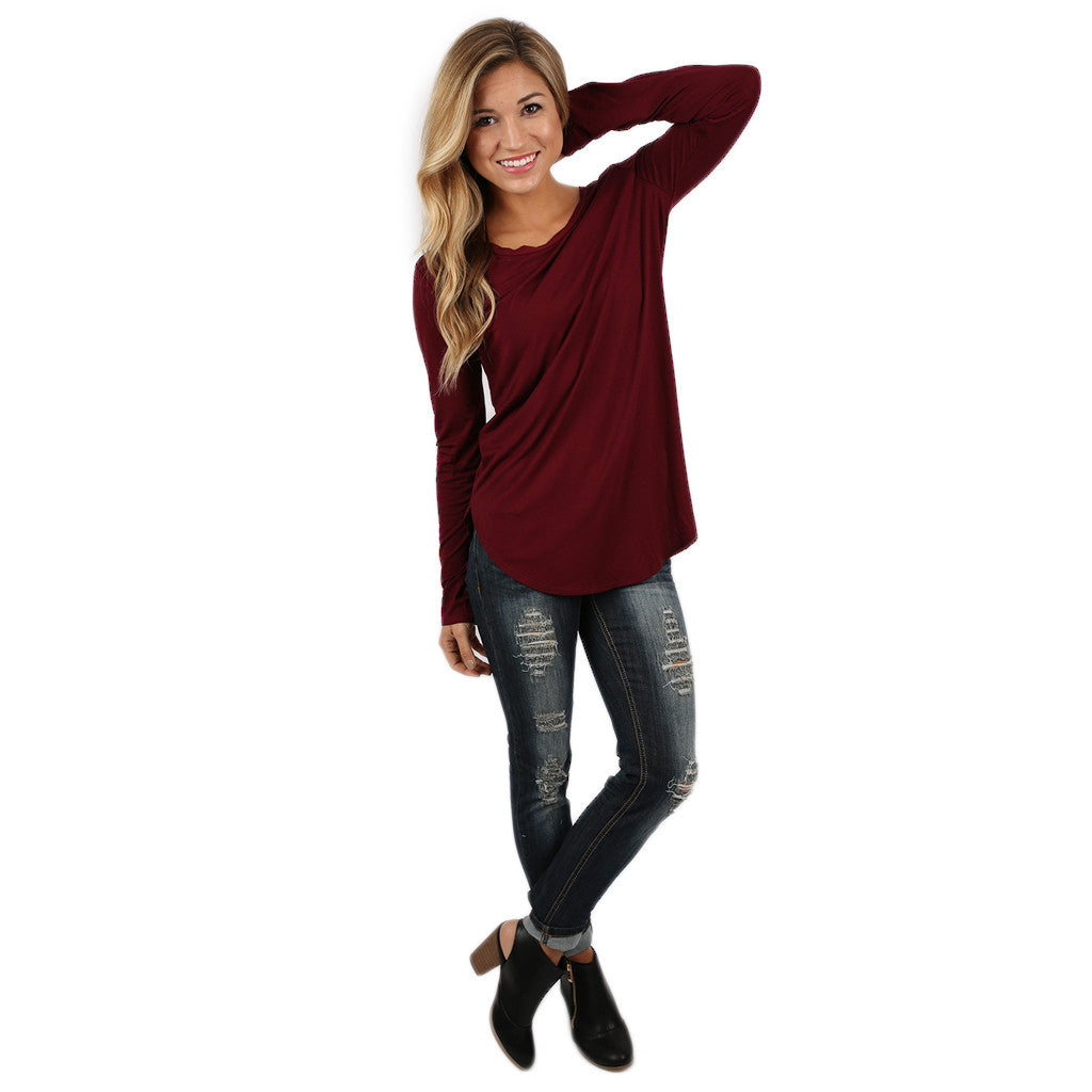 At First Crush Scoop Tee in Burgundy