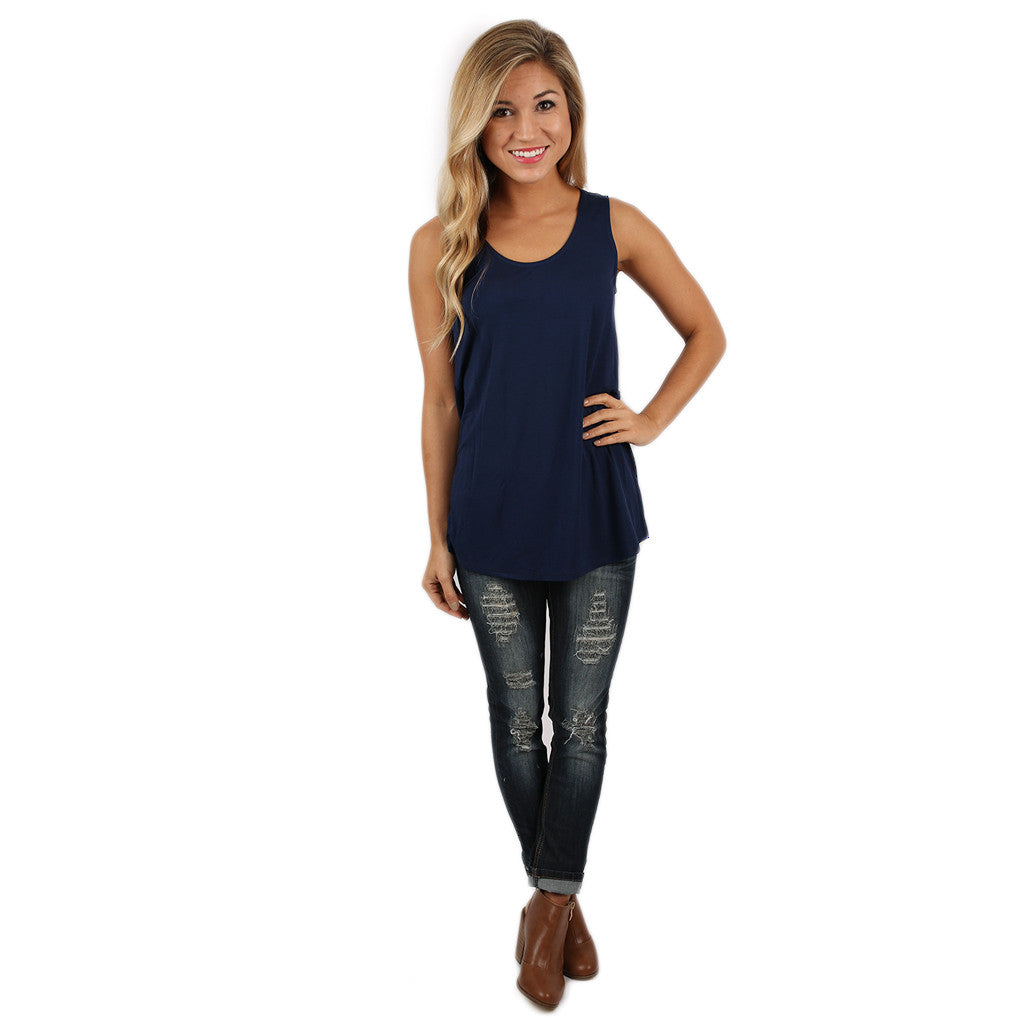 At First Crush Scoop Tank In Navy