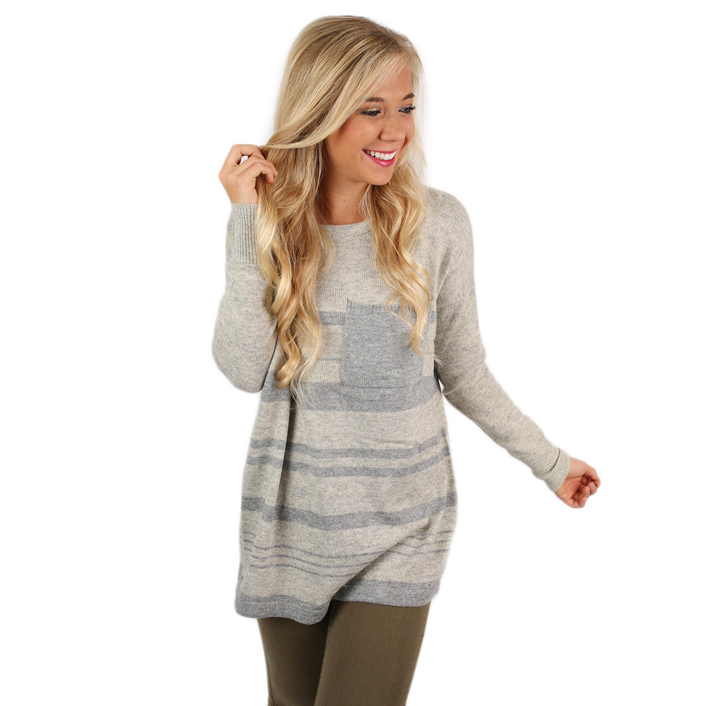 Fancier in Stripes Thin Sweater Grey