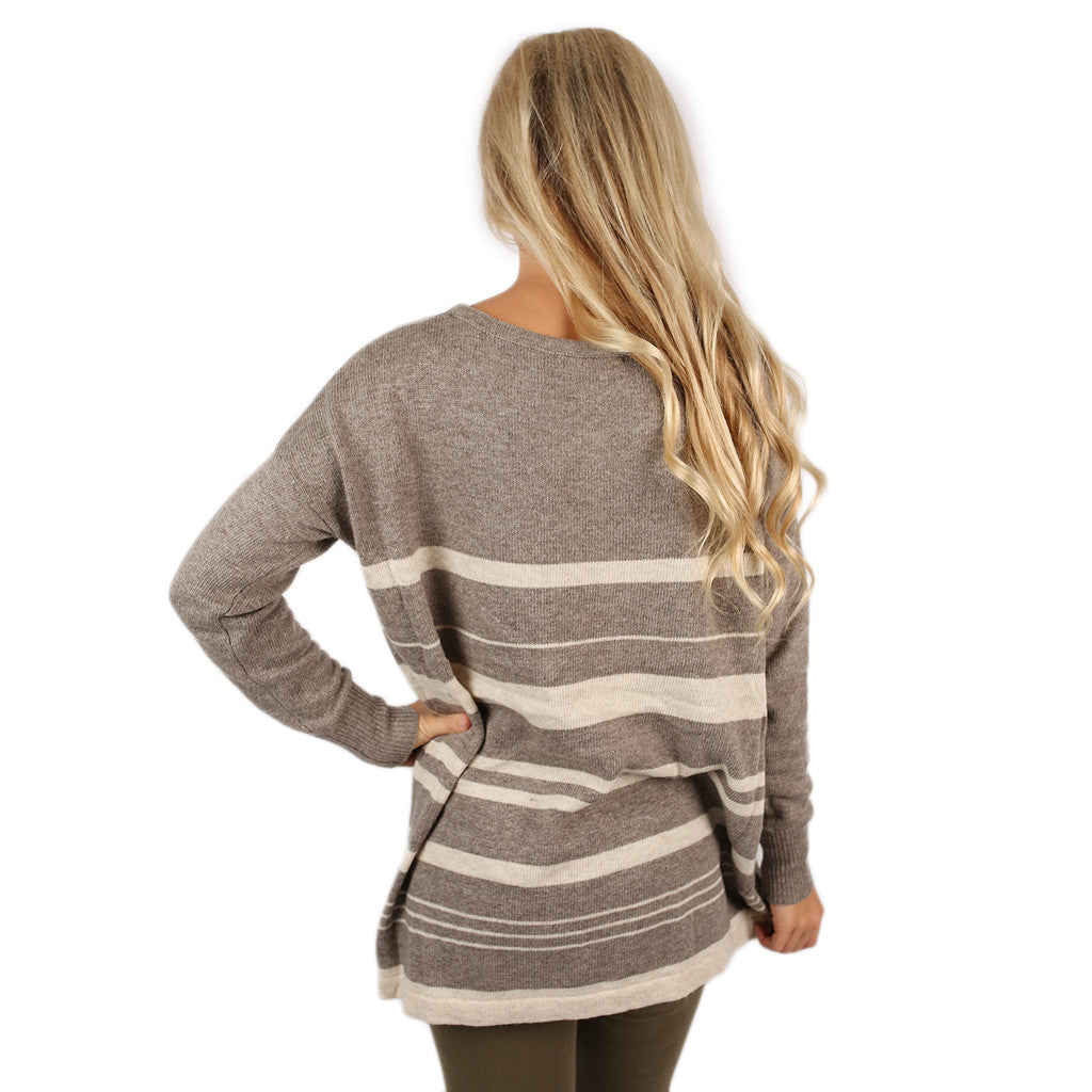 Fancier in Stripes Thin Sweater Beige