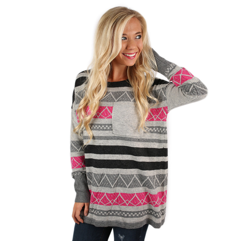 Luxurious Comfort Striped Sweater Fuchsia