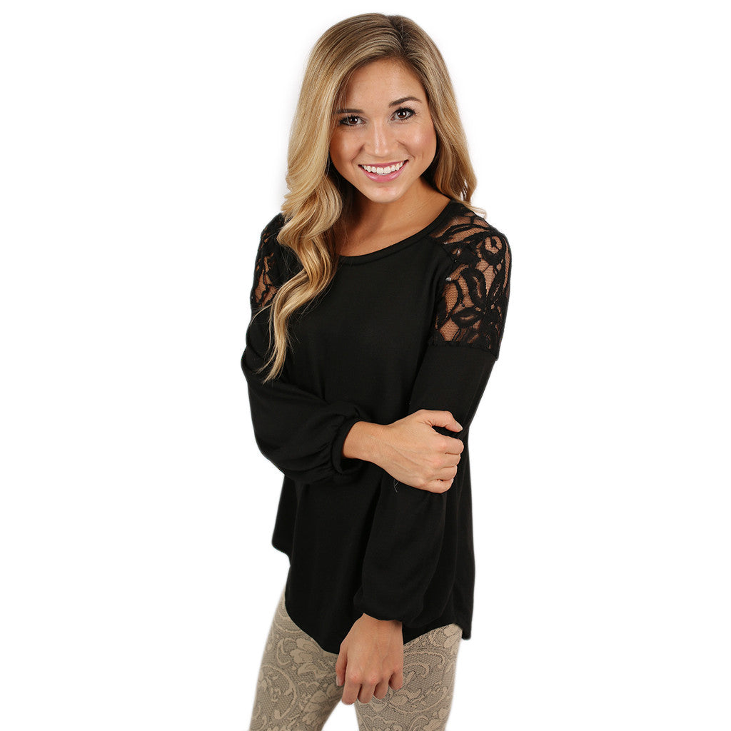 Lace Ambition Top Black