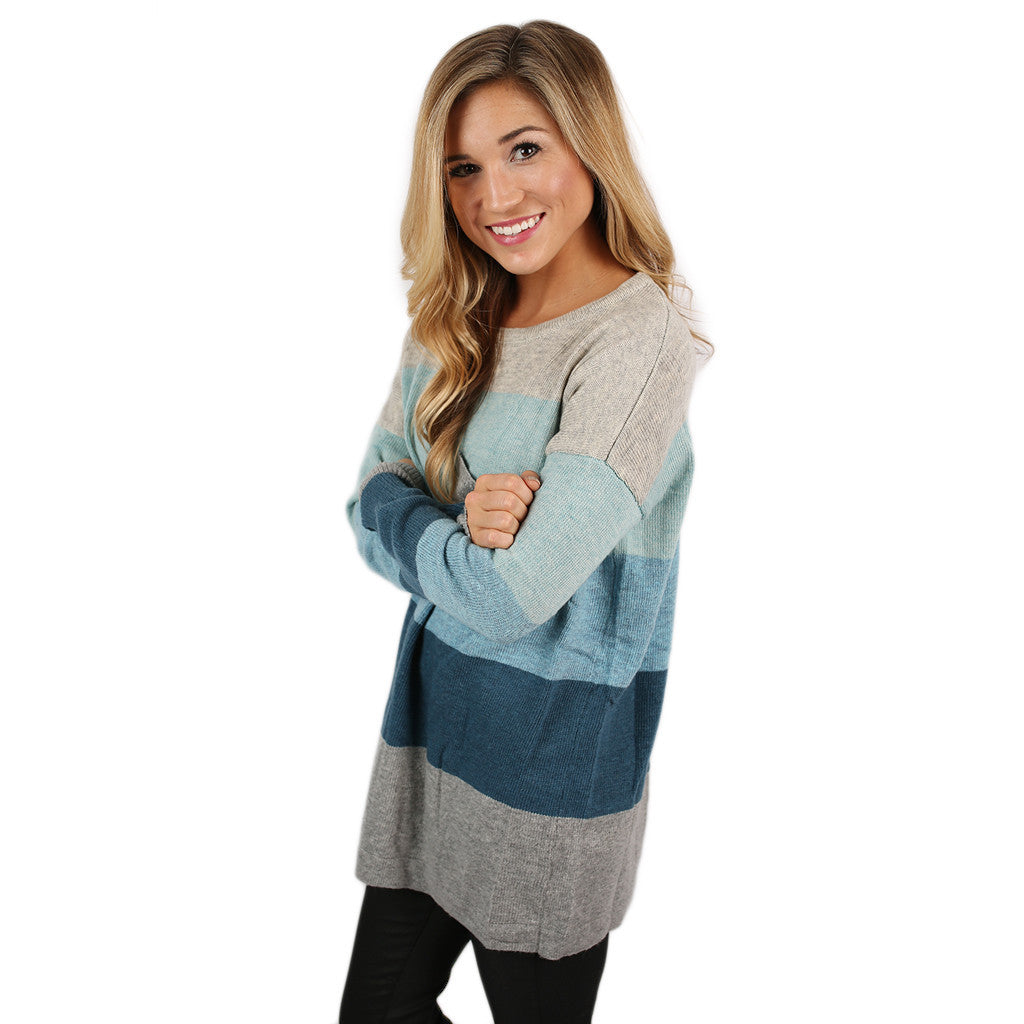 Cozy Luxury Light Blue/Heather Grey Sweater