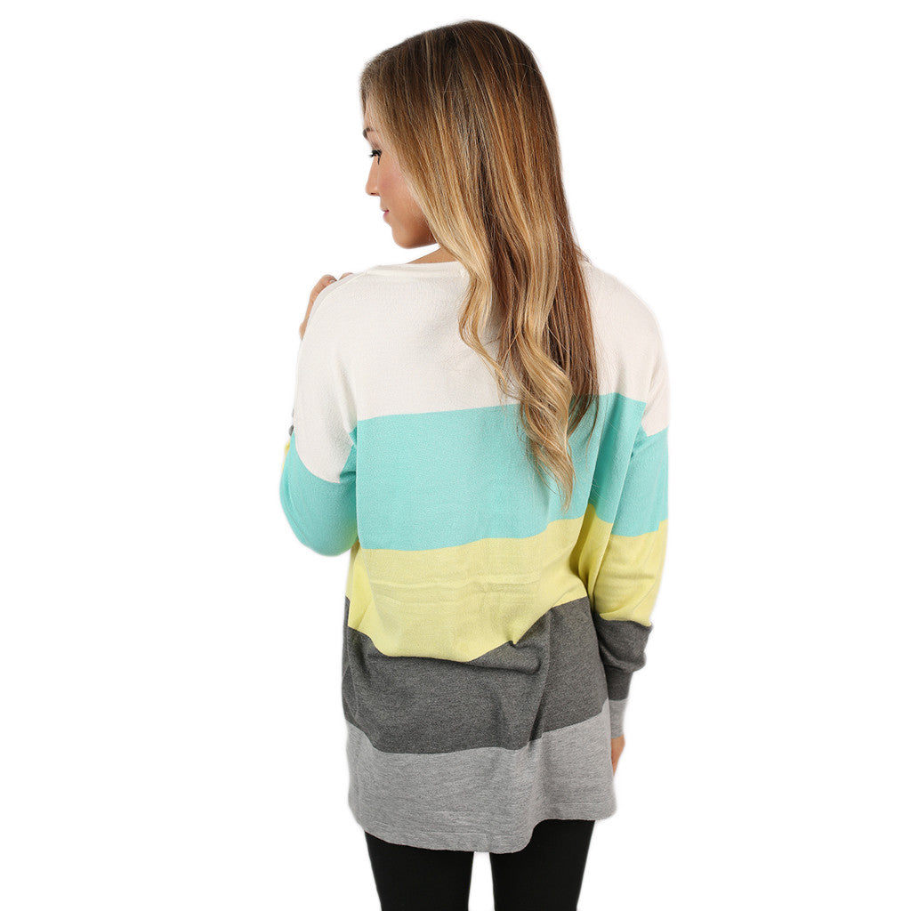 Cozy Luxury Thin Sweater Lime/Aqua