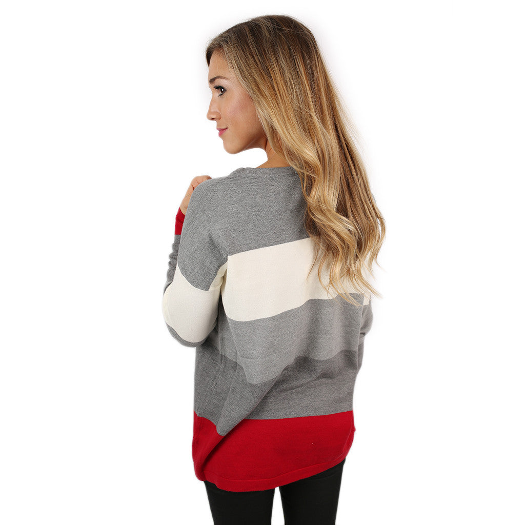 Cozy Luxury Thin Sweater Crimson/Grey