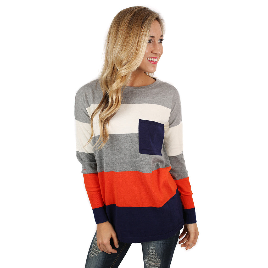 Cozy Luxury Thin Sweater Orange/Ivory