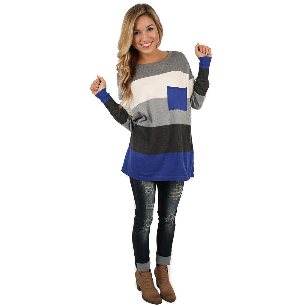 Cozy Luxury Thin Sweater Royal Blue/Charcoal