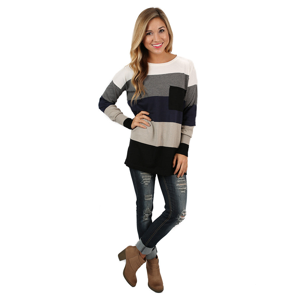 Cozy Luxury Thin Sweater Navy/Charcoal