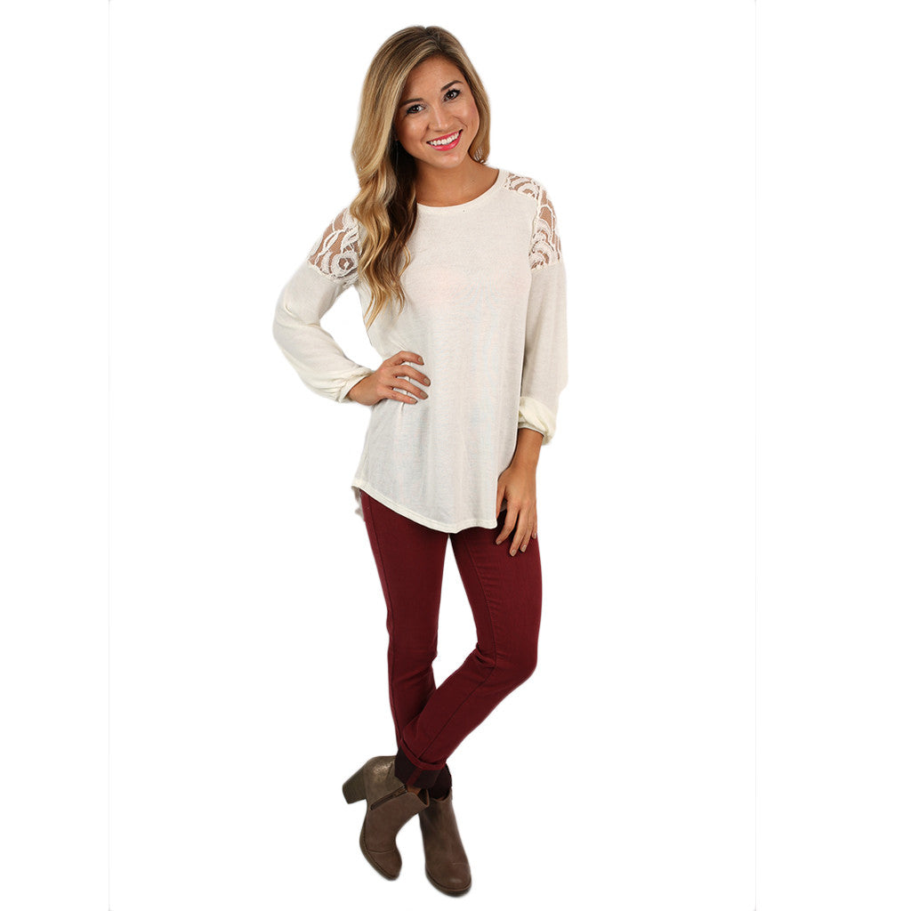 Lace Ambition Top Ivory