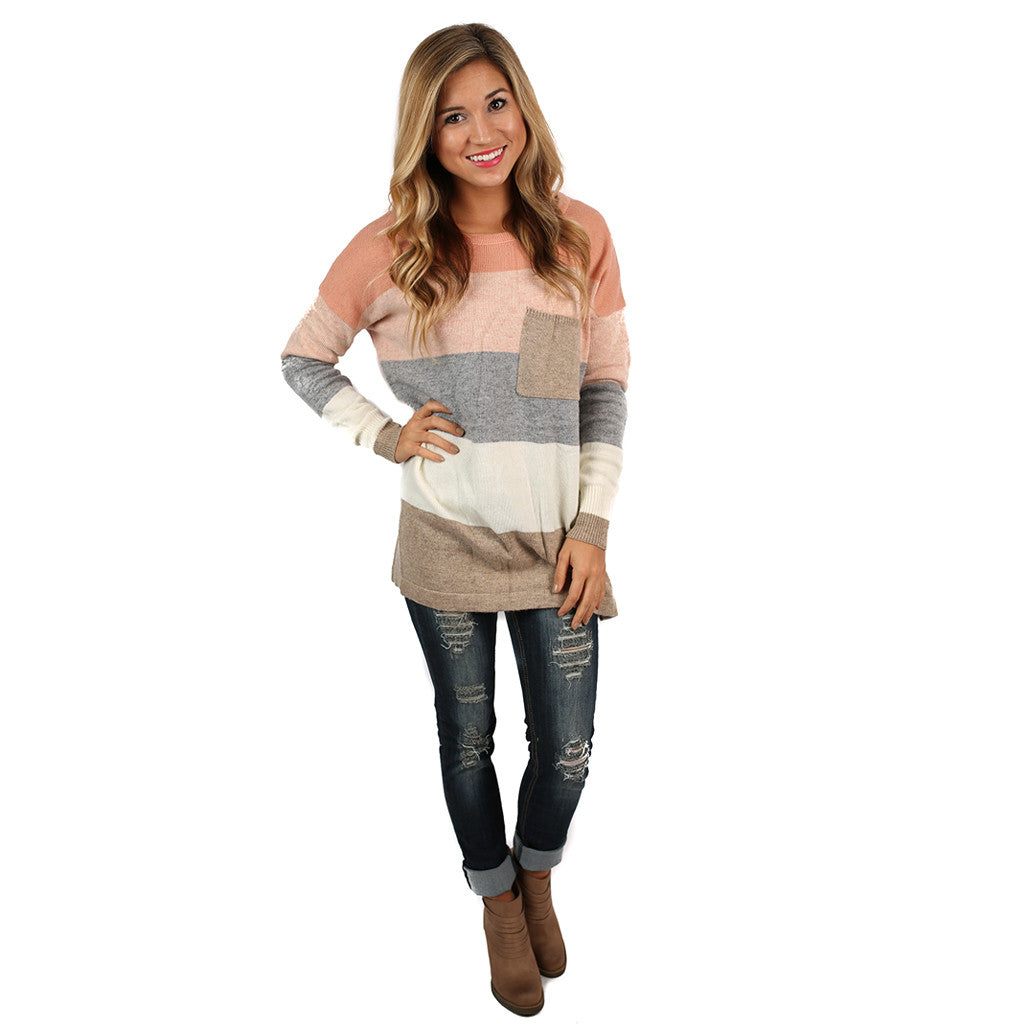 Cozy Luxury Tan/Melon Sweater