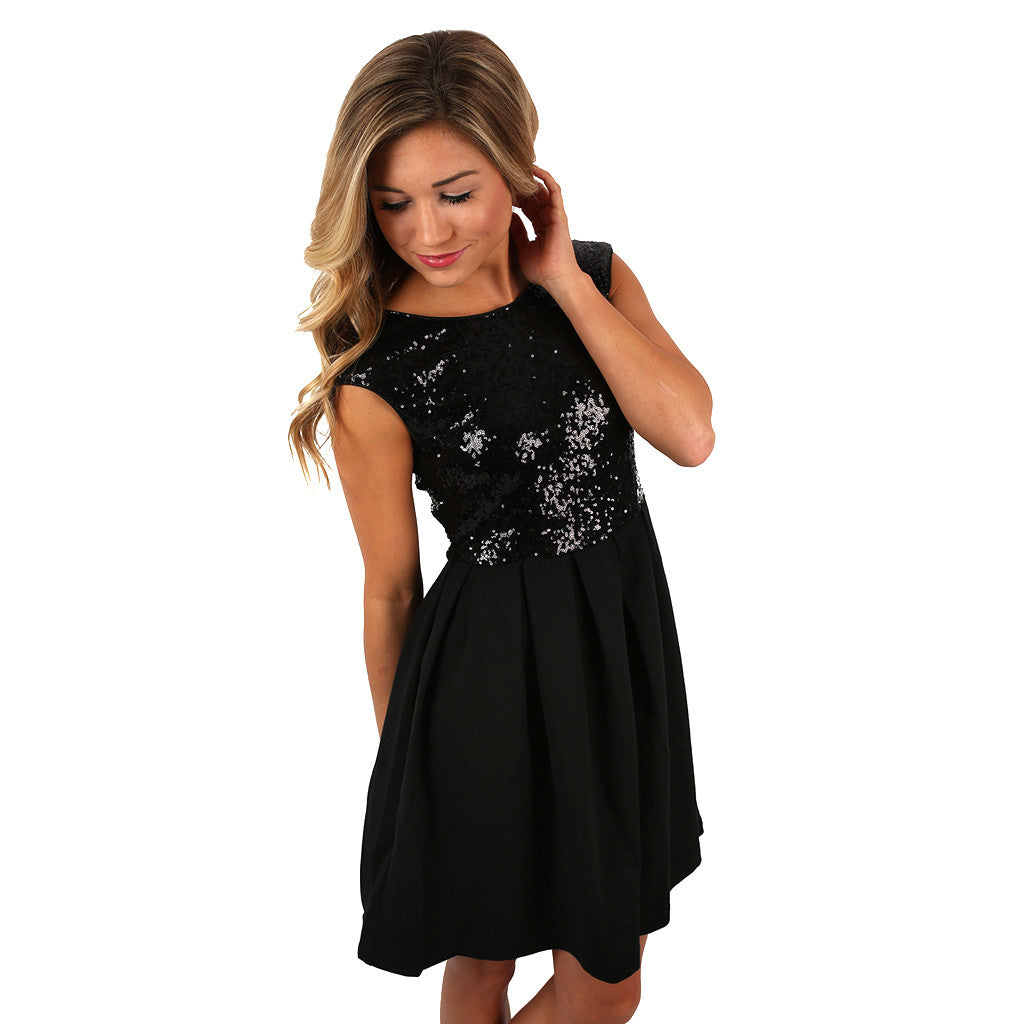 Out & About Sequin Dress in Black