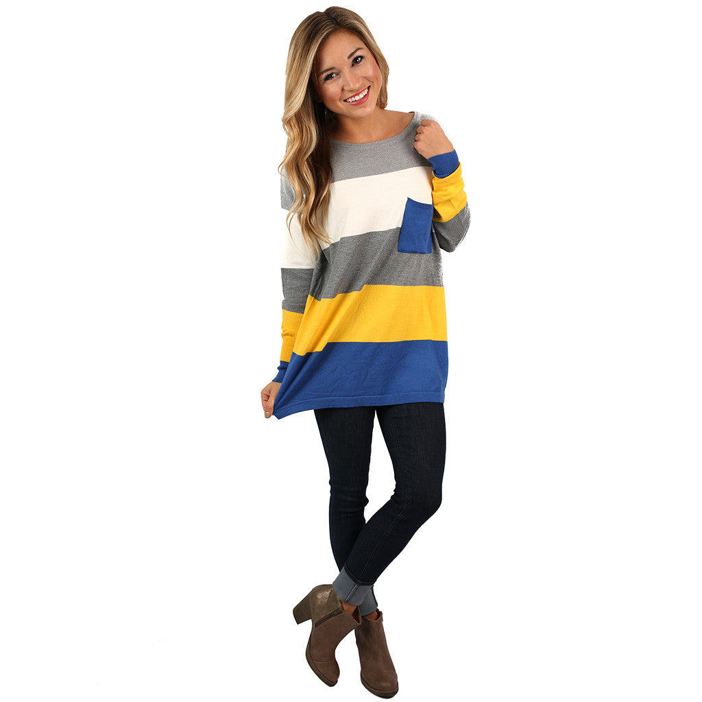 Cozy Luxury Thin Sweater Yellow/Royal Blue