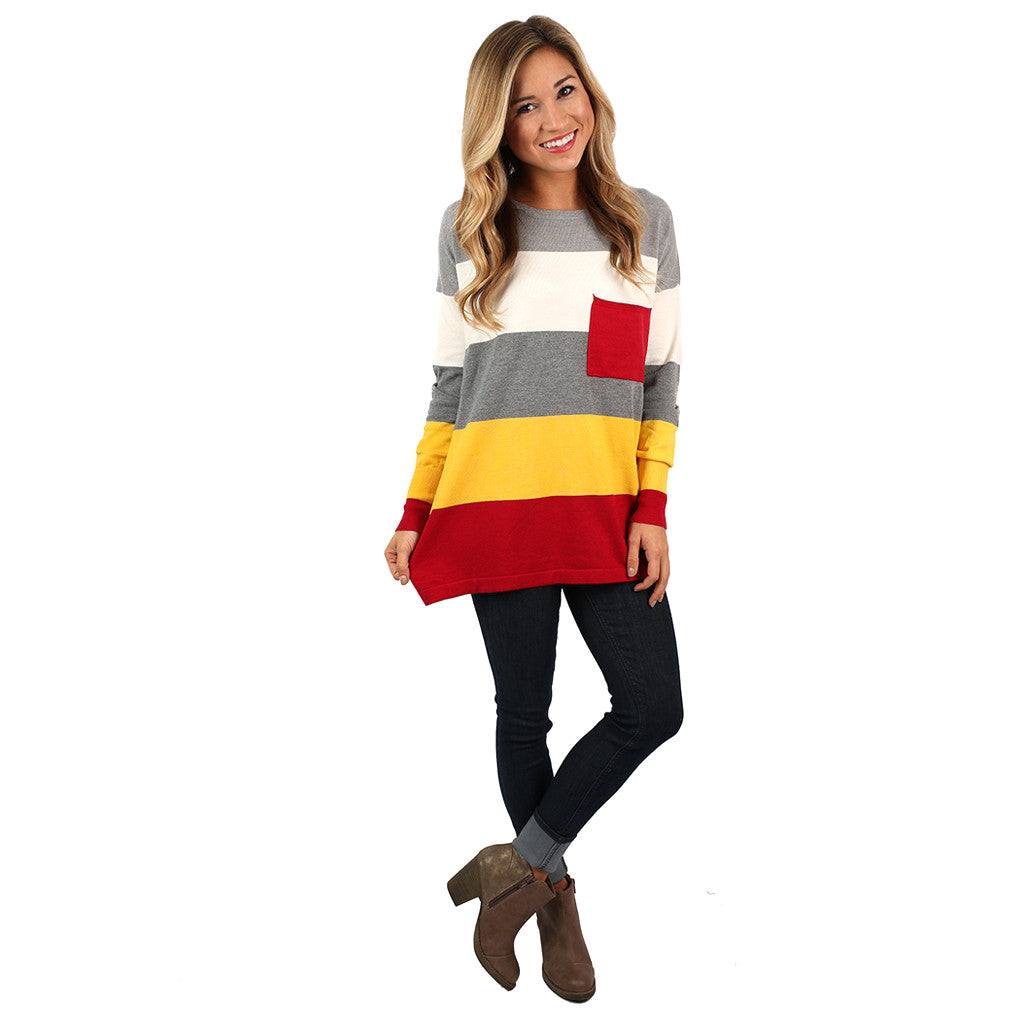 Cozy Luxury Thin Sweater Crimson/Yellow