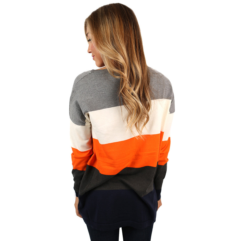 Cozy Luxury Thin Sweater Orange/Charcoal