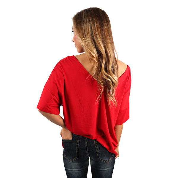 Piko relaxed fit v neck tee in american red impressions Relaxed fit women s v neck t shirt