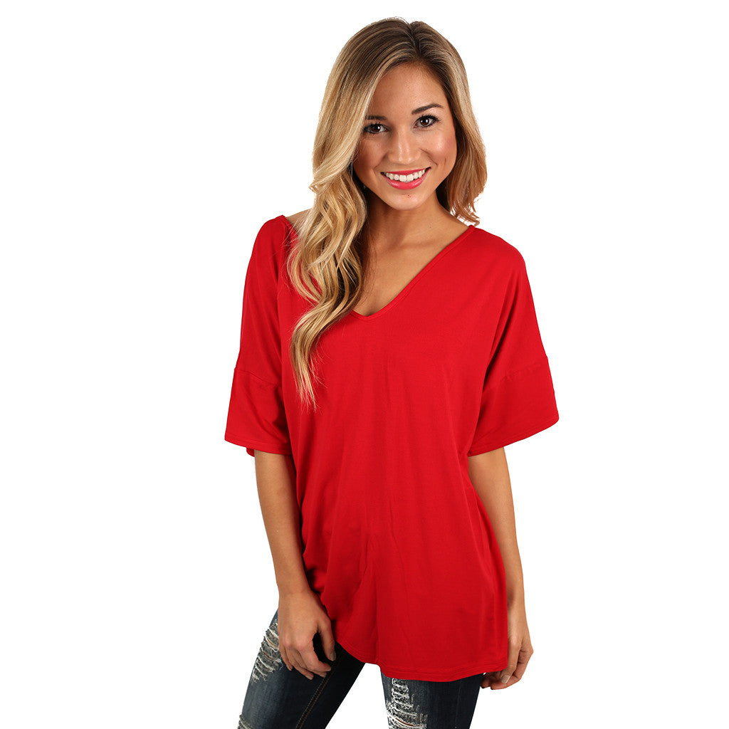 PIKO Relaxed Fit V-Neck Tee in American Red