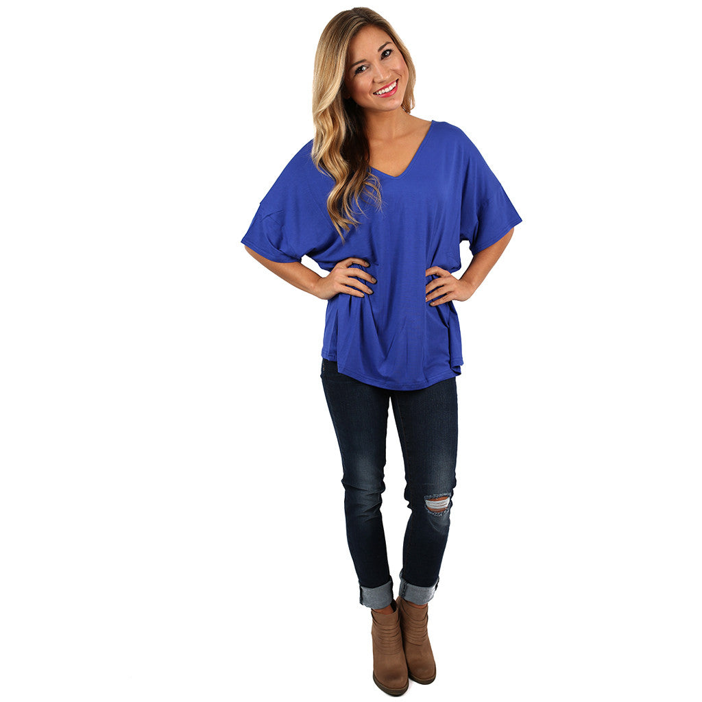 PIKO Relaxed Fit V-Neck Tee in Cobalt