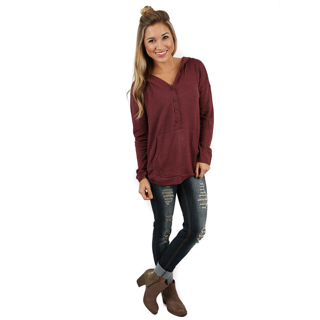 Love You Oh So Well Hoodie in Maroon