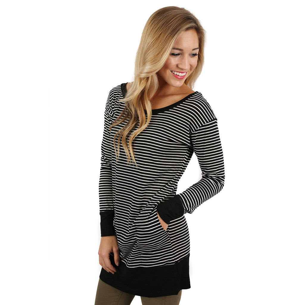 Saturday Morning Stripes Top Black