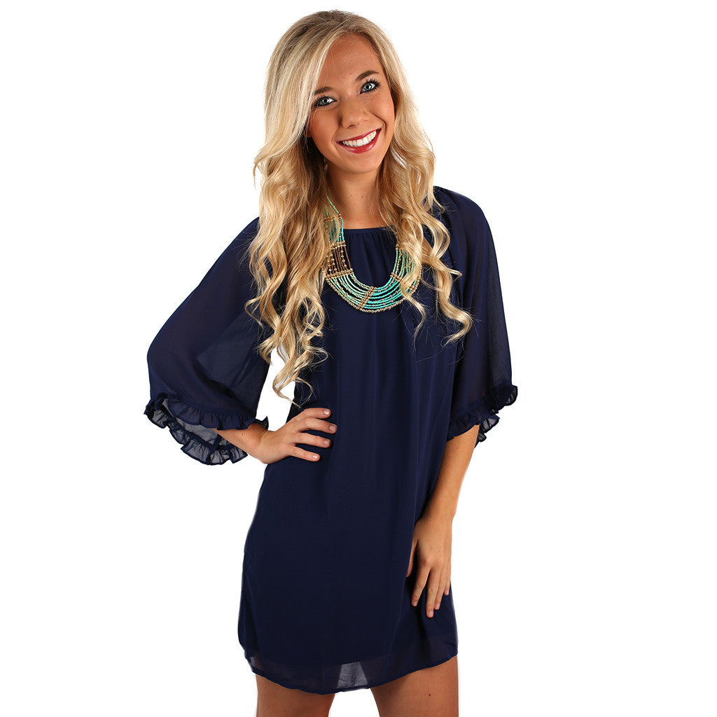 Ruffles & Champagne Dress in Navy