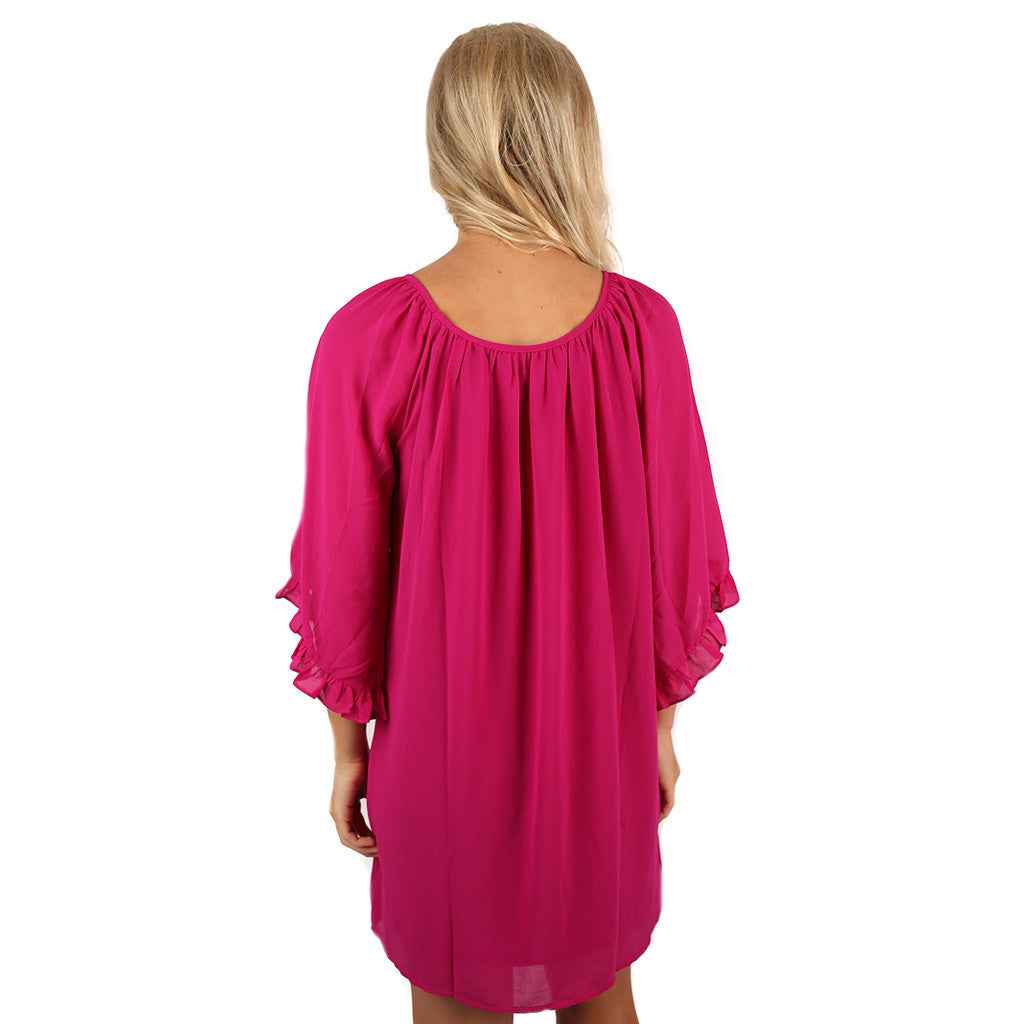 Ruffles & Champagne Dress in Magenta