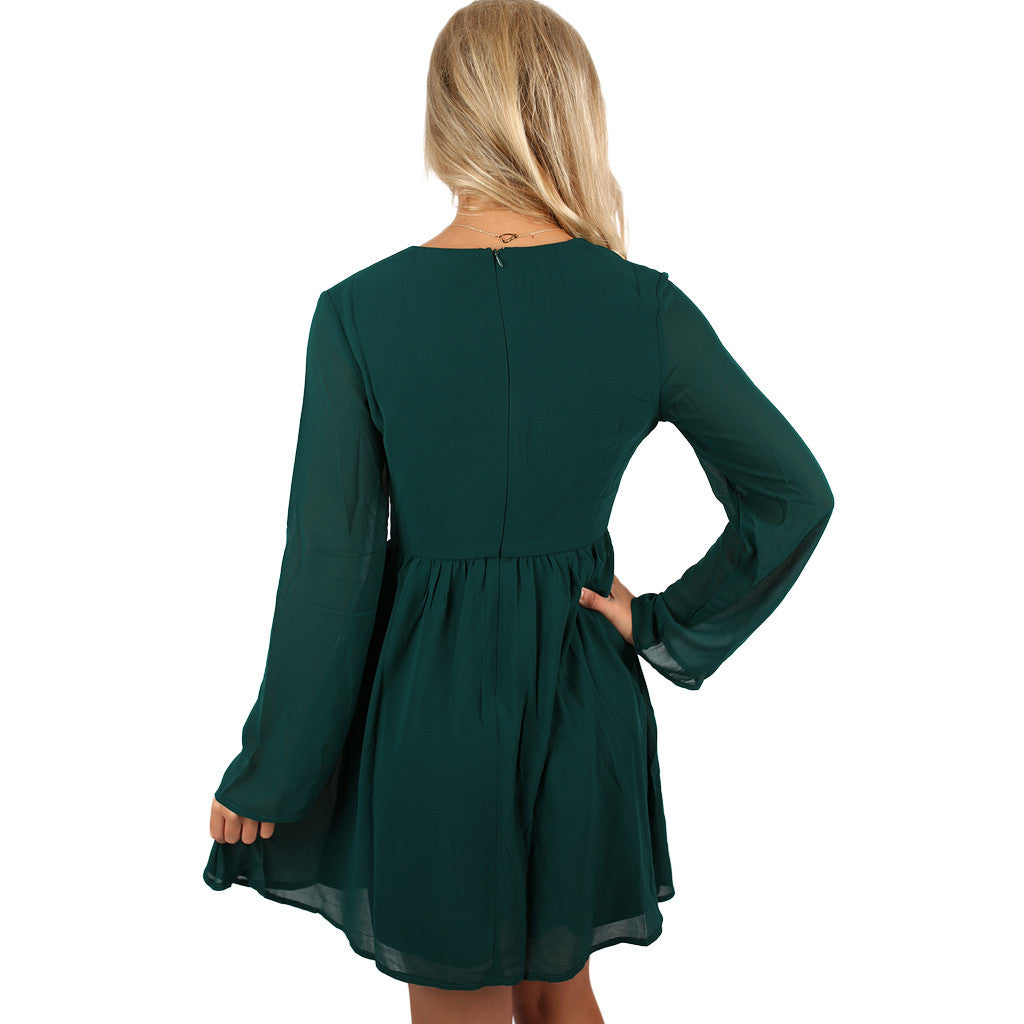 Afternoon Stroll Dress in Emerald