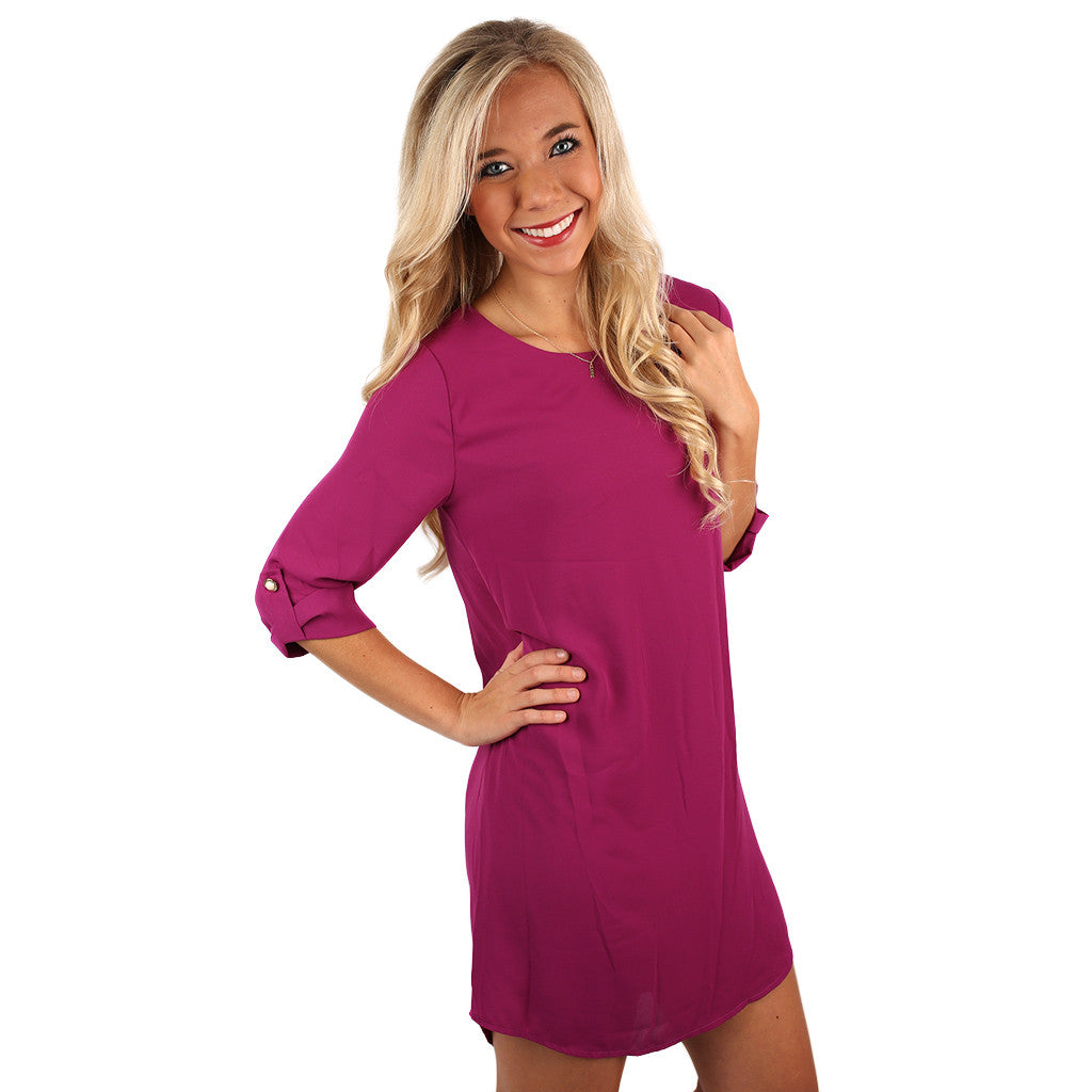 Lattes & Love Dress in Magenta