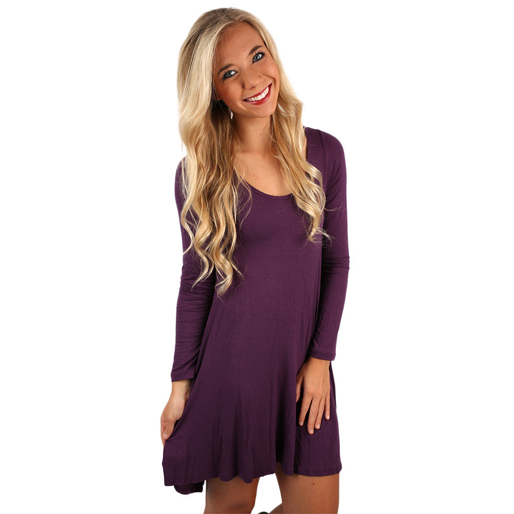 Flowy & Fab Long Sleeve Tunic in Purple