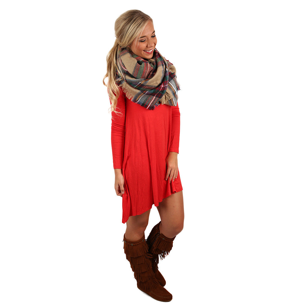 Flowy & Fab Long Sleeve Tunic in Tomato