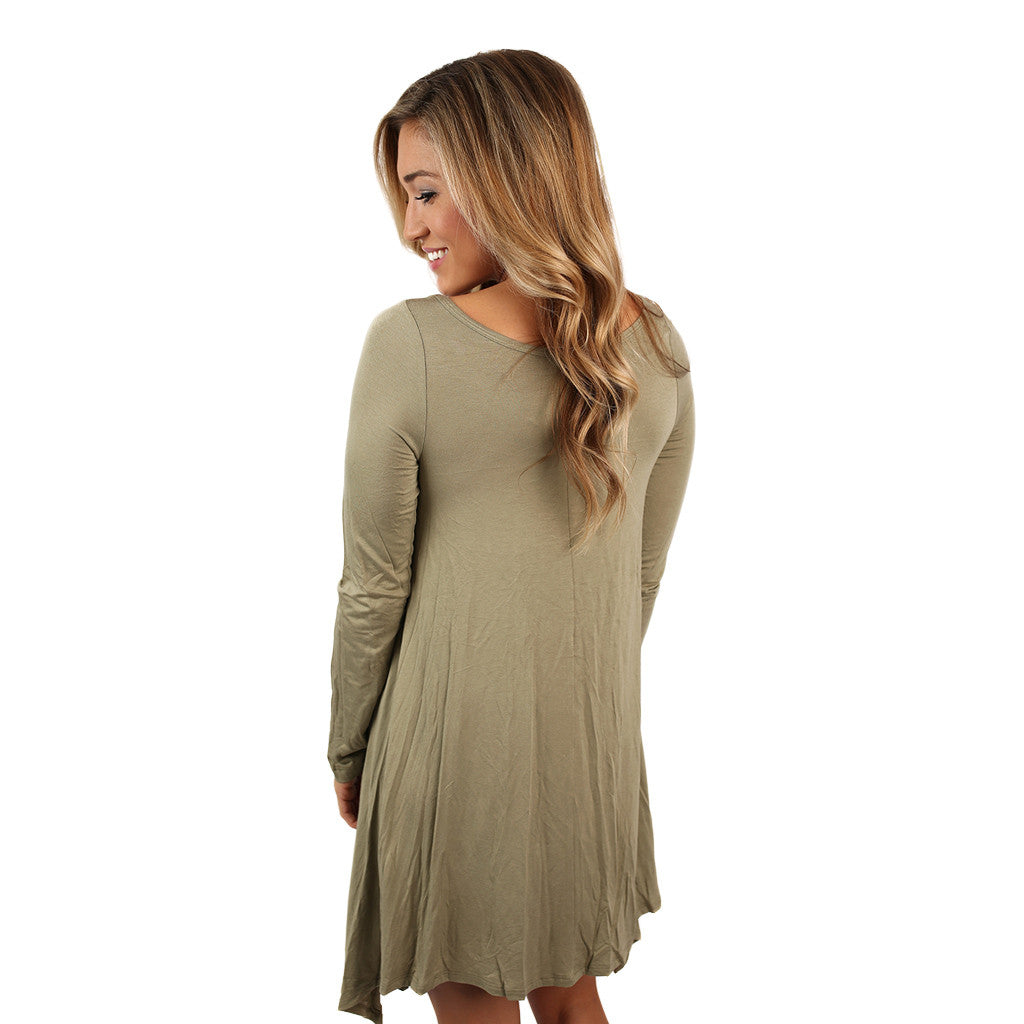 Flowy & Fab Long Sleeve Tunic in Sage