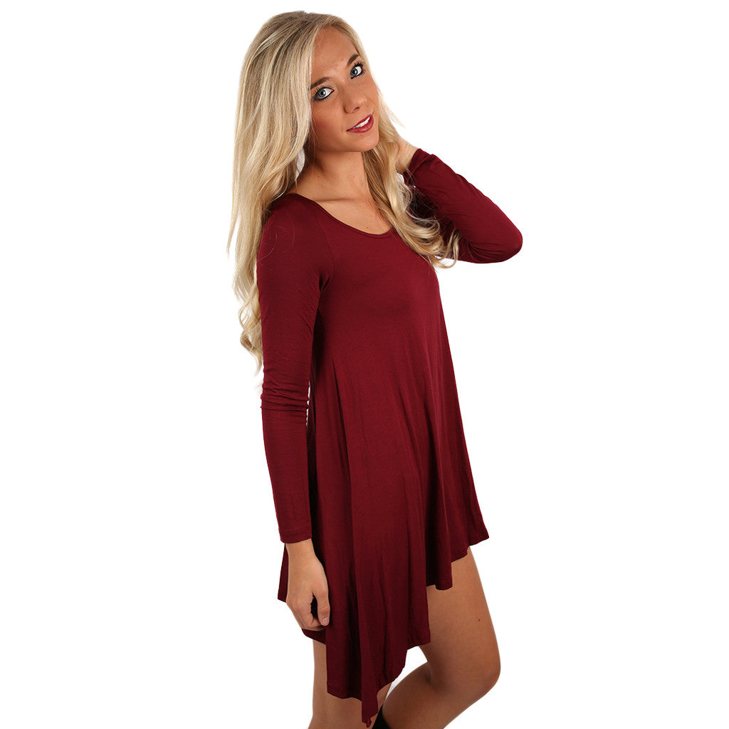 Flowy & Fab Long Sleeve Tunic in Wine