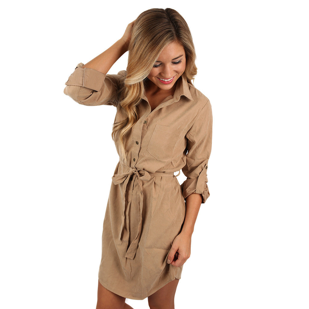 Everyday Comfort Dress In Khaki Impressions Online Boutique
