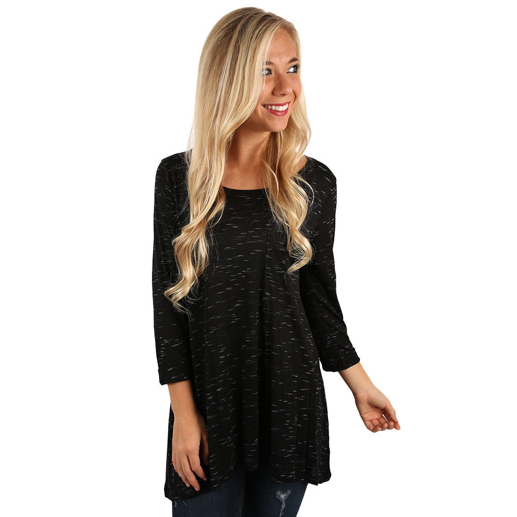 Yours Truly Stripe Tunic in Black