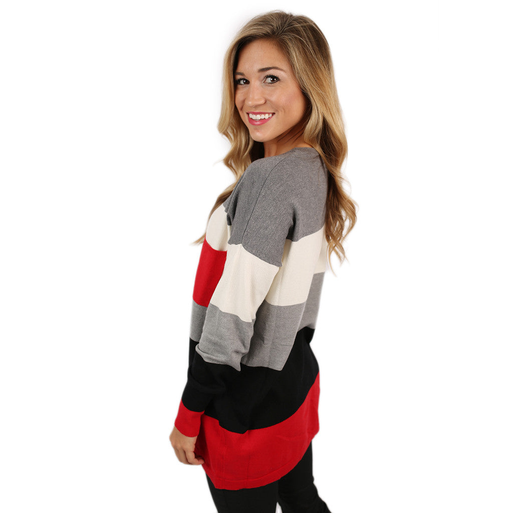 Cozy Luxury Thin Sweater Red/Black