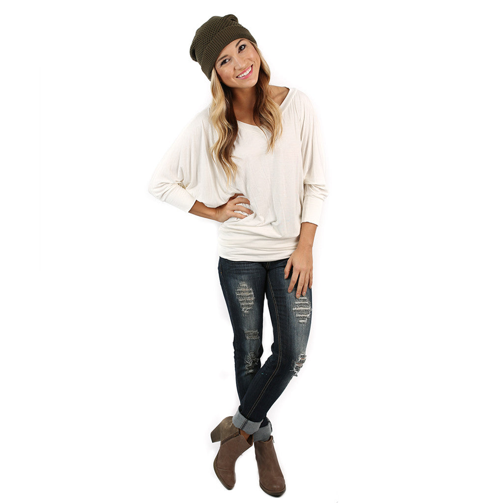 Perfect Fit V-Neck Dolman Ivory
