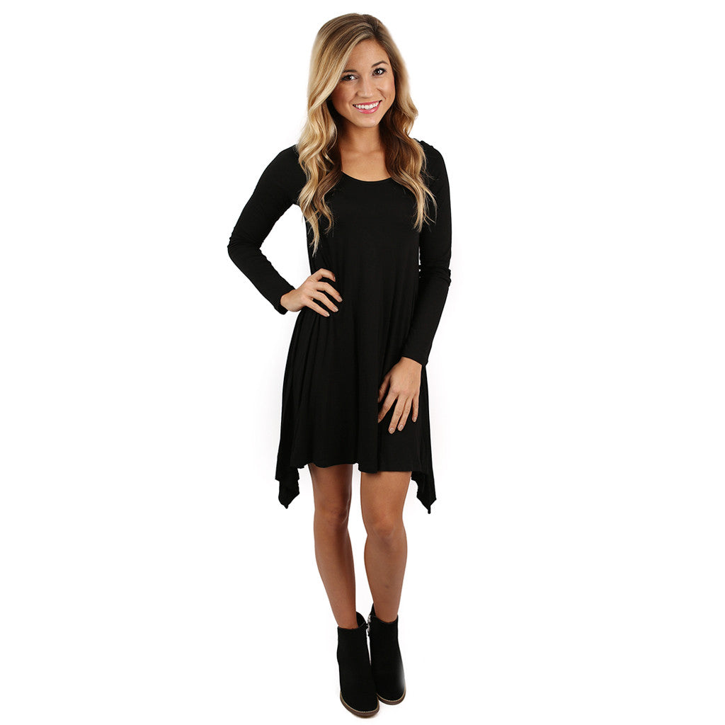 Flowy & Fab Long Sleeve Tunic in Black