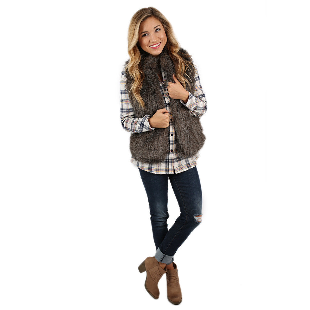 London Bound Faux Fur Vest Grey