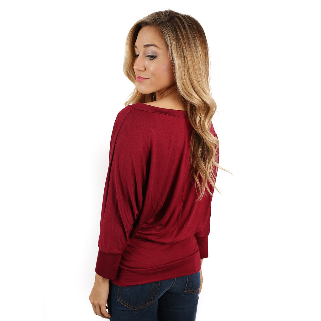 Perfect Fit V-Neck Dolman Burgundy