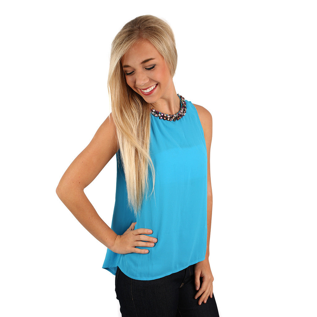 Happy Girls Are The Prettiest Girls Top in Blue