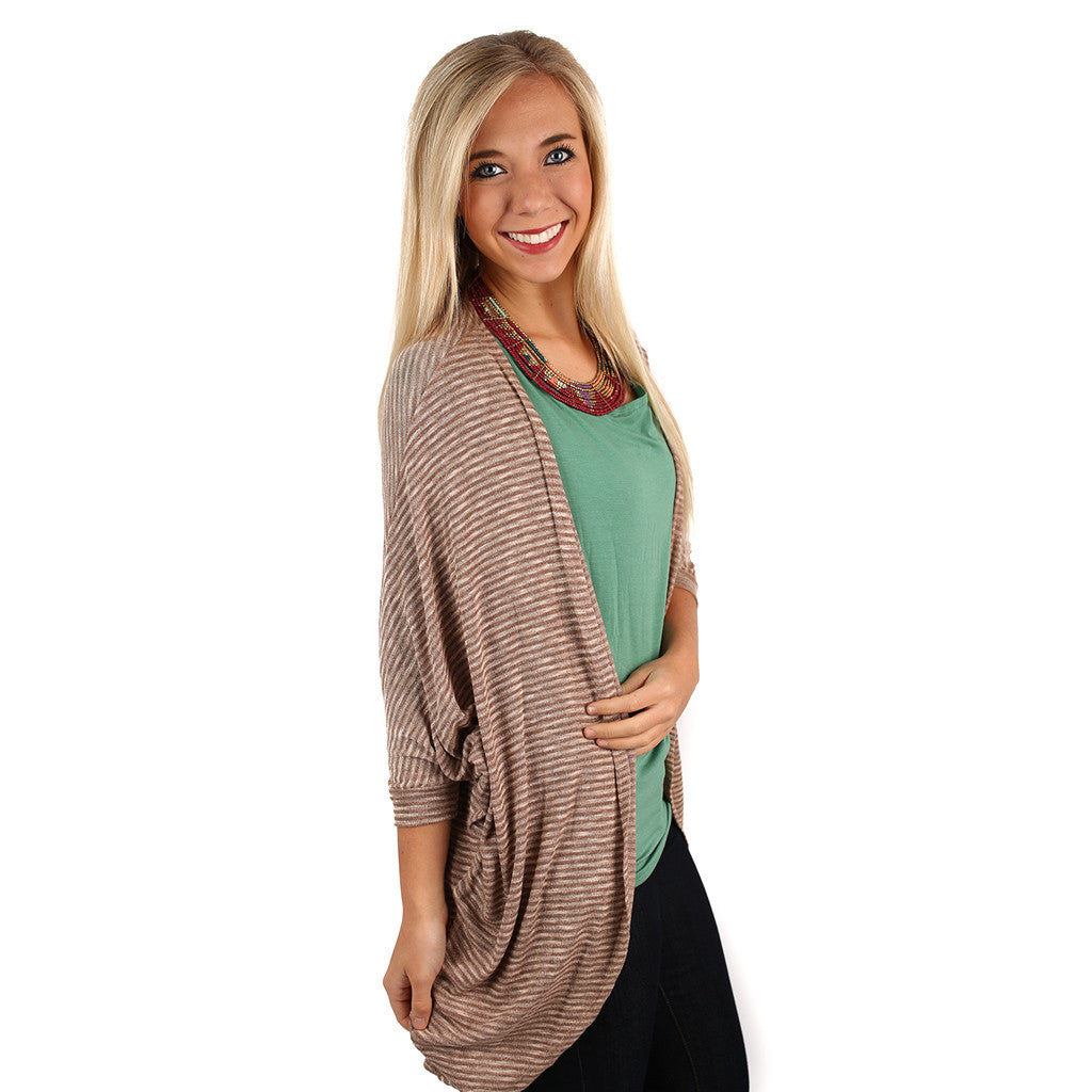 Oh So Soft Stripe Cardi Taupe