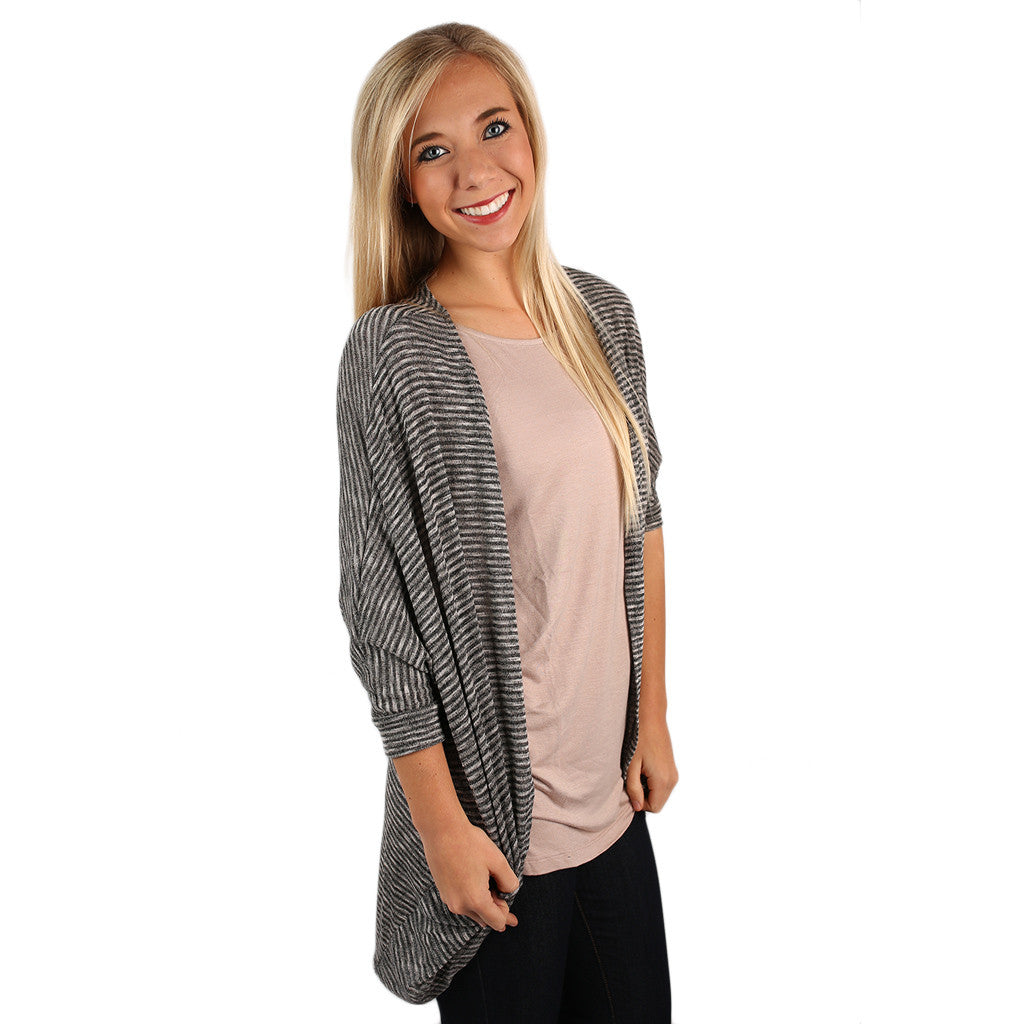 Oh So Soft Stripe Cardi Charcoal