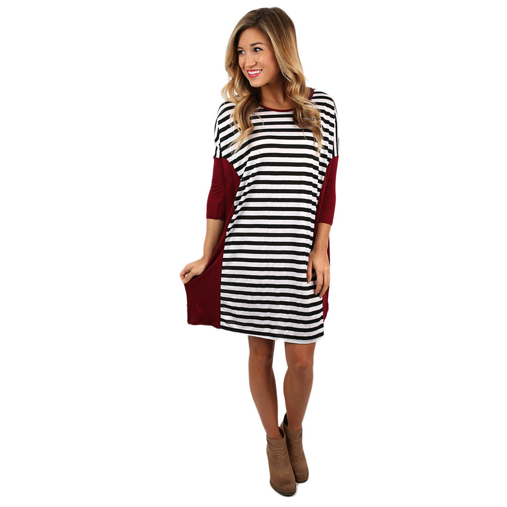 Love of Stripes Shift Dress Burgundy