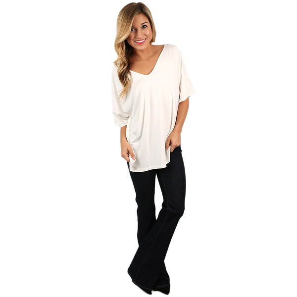 Piko relaxed fit v neck tee in off white impressions Relaxed fit women s v neck t shirt