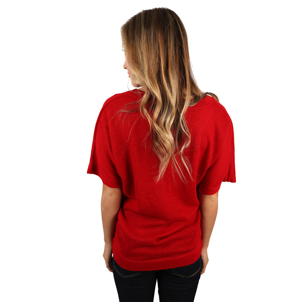PIKO V-Neck Knitted Top in Red