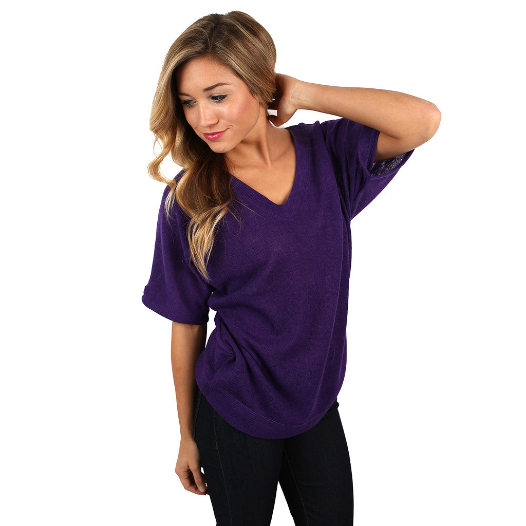 PIKO V-Neck Knitted Top in Purple
