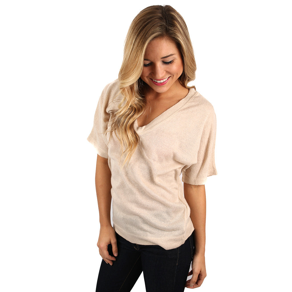 PIKO V-Neck Knitted Top in Nude