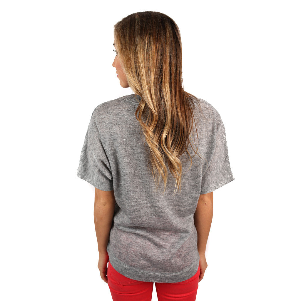 PIKO V-Neck Knitted Top in Grey