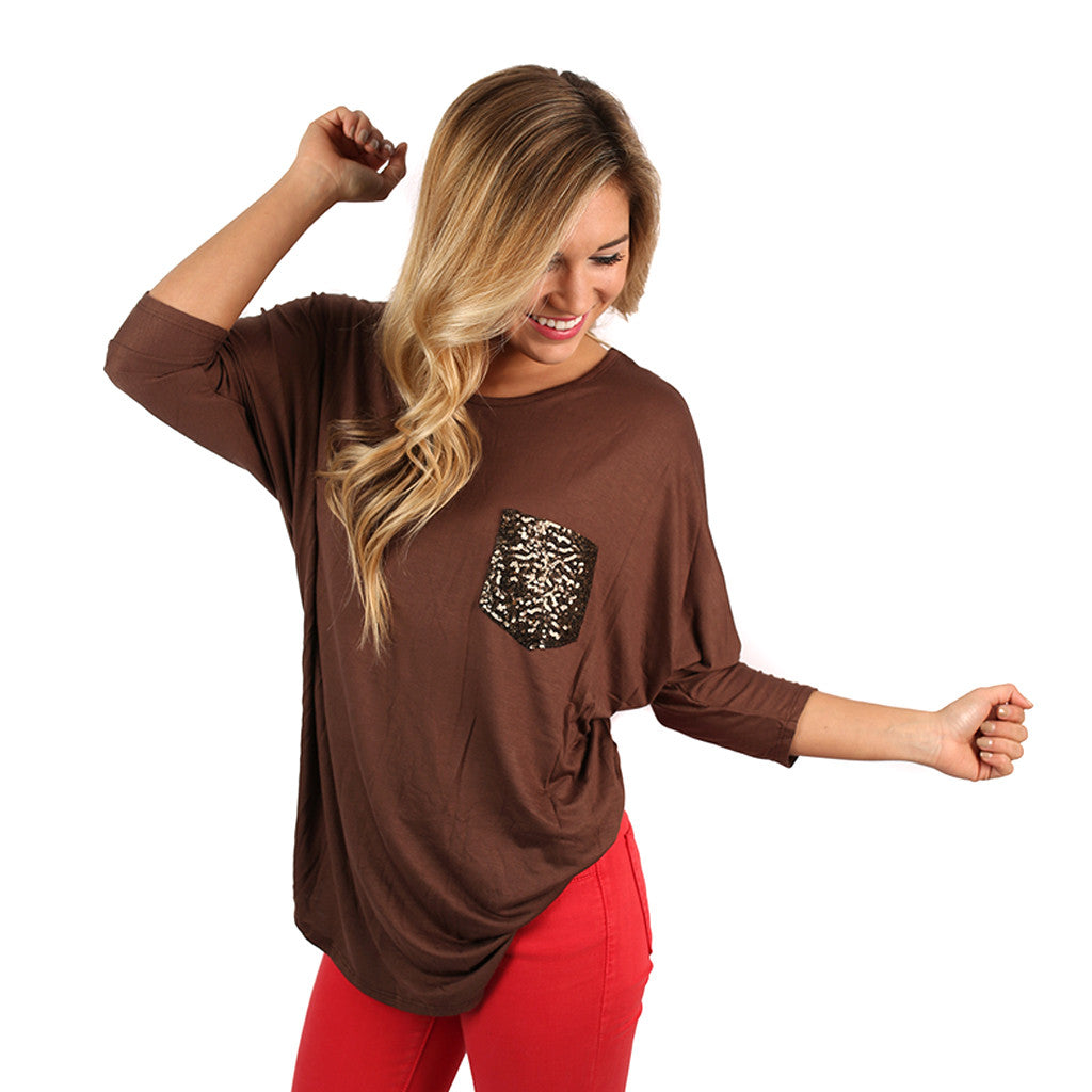 Everyday I'm Sparkling Tee in Brown