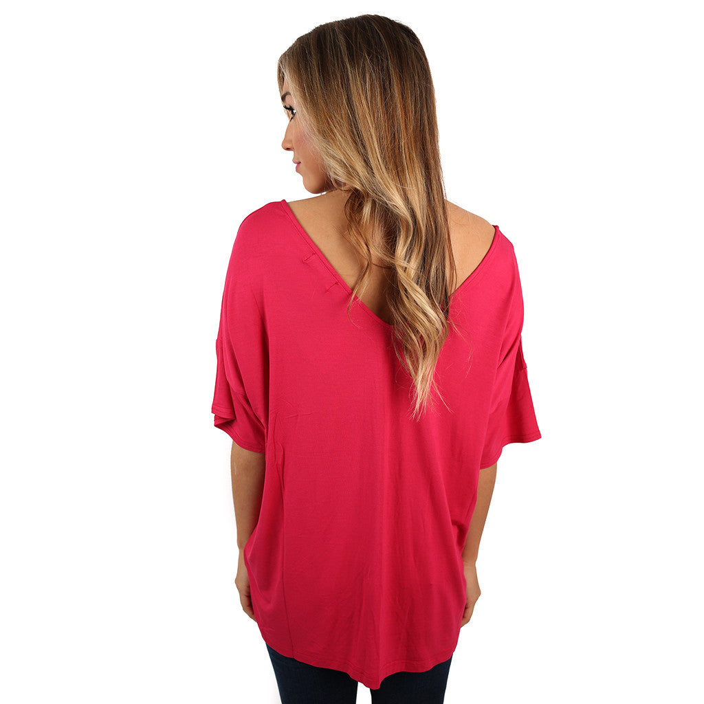 PIKO Relaxed Fit V-Neck Tee in Berry