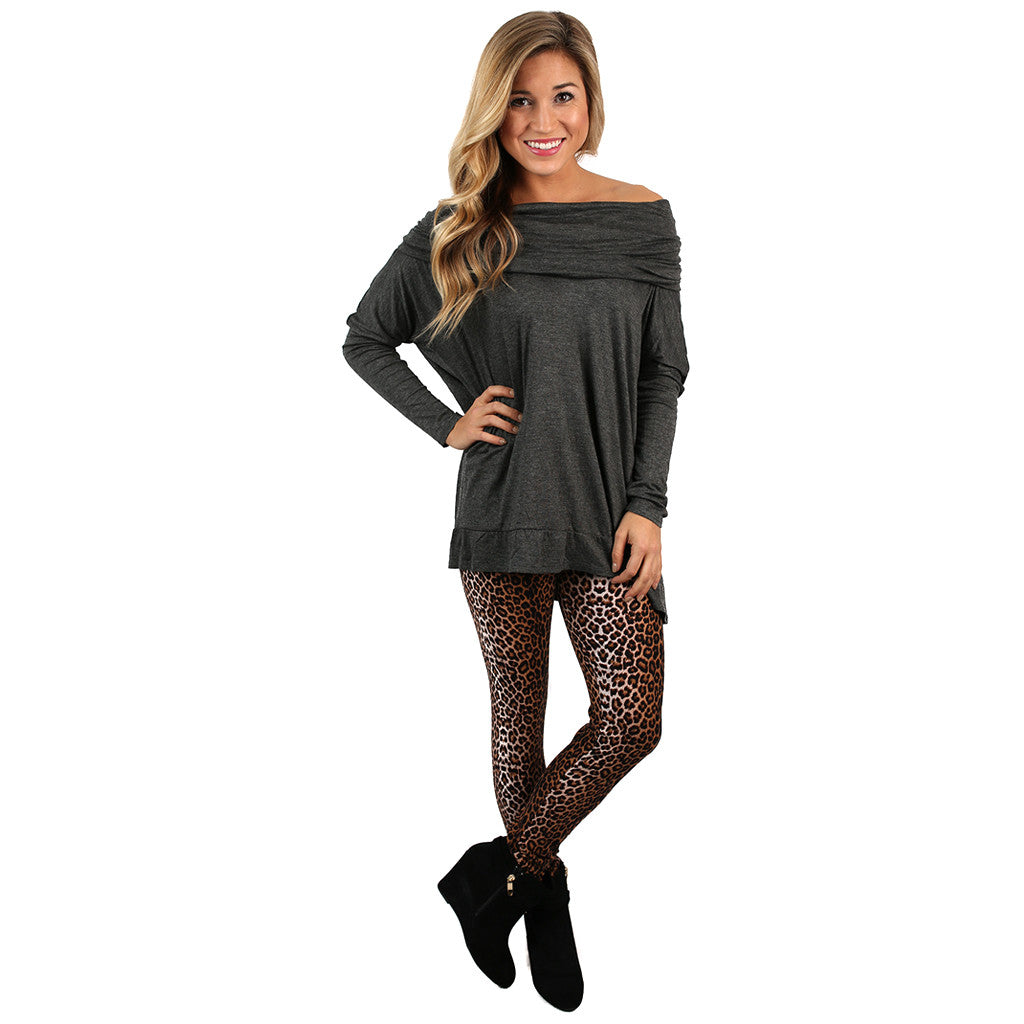 Dressed to Impress Tunic Top Charcoal